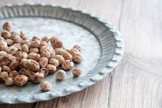 Tiger nuts on a metal plate
