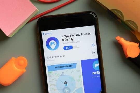 mSpy App open on a phone