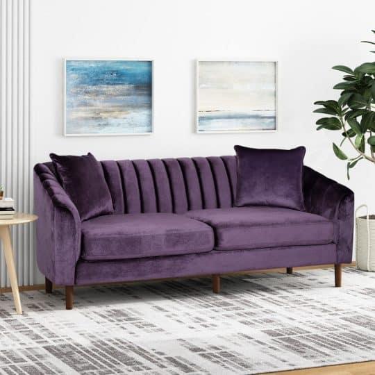 Ansonia Contemporary Velvet Sofa