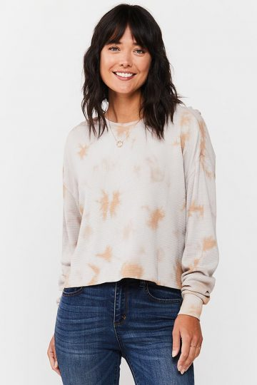 Cream and white thermal shirt