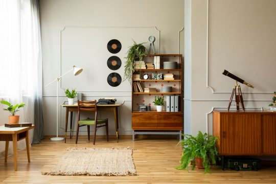 Mid-century modern room. Some of the room decor includes vinyl records on the wall, a shelving unit with books, plants and a camera and a woven rug.