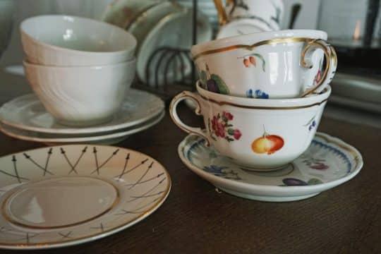 Mismatched vintage china
