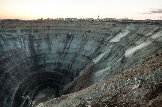 Diamond mine, which looks like a giant hole in the earth