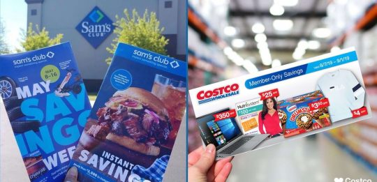 Costco VS. Sam's Club: people holding flyers for both stores