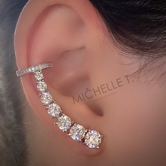 Diamond ear cuff with studs going down the ear