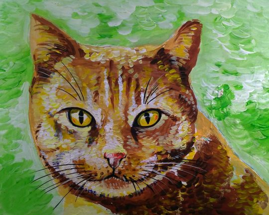 Textured painting of an orange cat on a green background