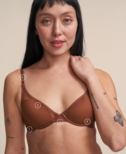 Woman wearing a Pepper bra, with numbers showing where they fit