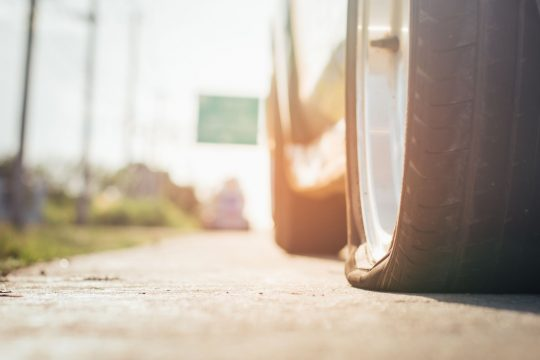 Close up of a flat tire