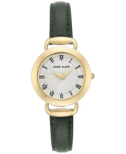 Anne Klein Olive Green Leather Strap Watch