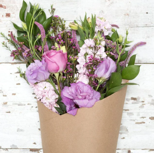 Purple and greene boquet from Bouqs