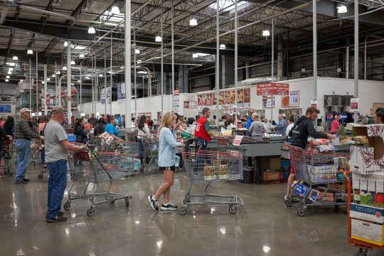 People waiting to check out at Costco